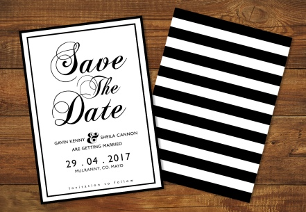 Monochrome Theme Wedding Invite